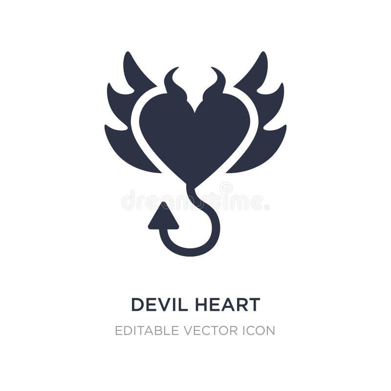 coração do diabo com ícone das asas no fundo branco Ilustração simples do elemento do conceito das formas ilustração royalty free
