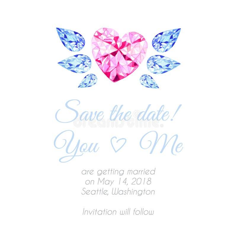 Coração do diamante com fundo do projeto do vetor da aquarela das asas ilustração stock