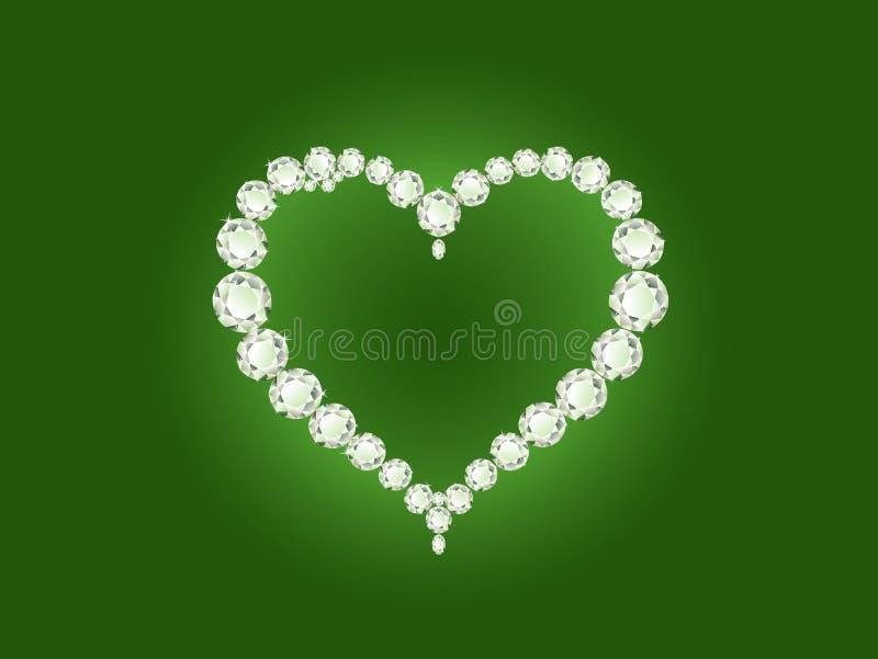 Coração do diamante do vetor no fundo verde ilustração stock