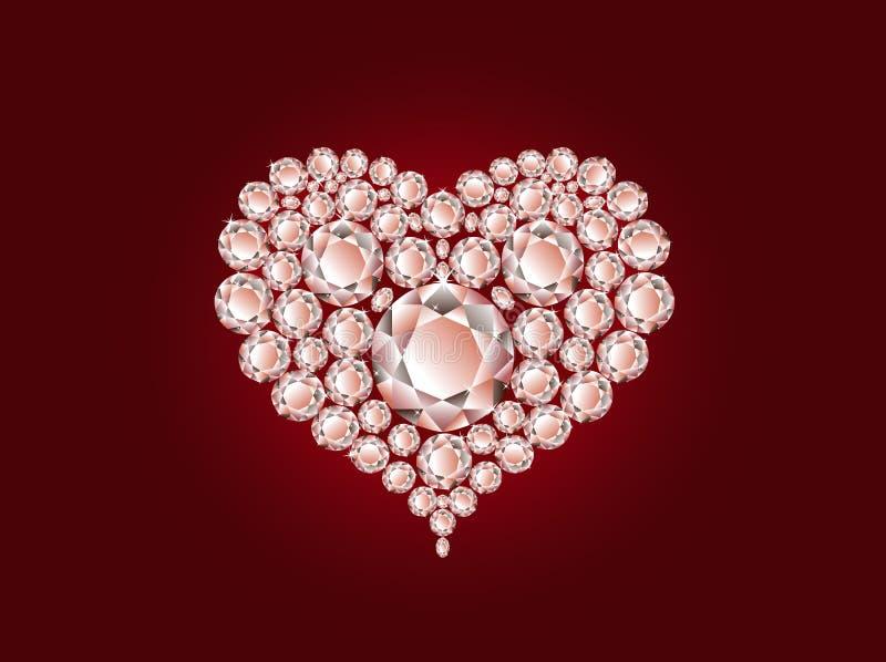Coração do diamante do vetor no fundo vermelho ilustração stock
