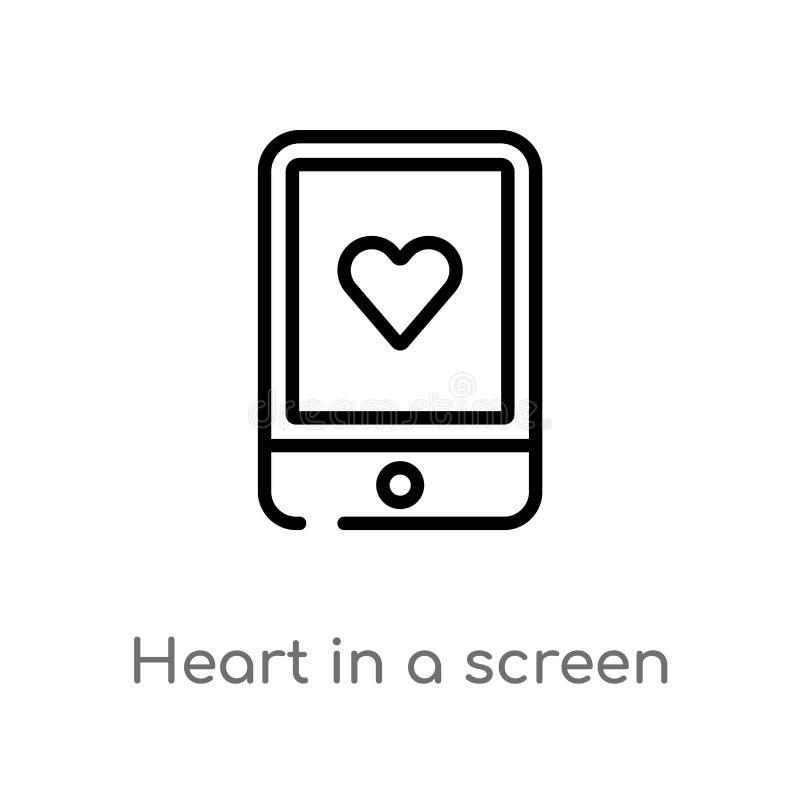 coração do esboço em um ícone do vetor da tela linha simples preta isolada ilustração do elemento do conceito da tecnologia Vetor ilustração royalty free