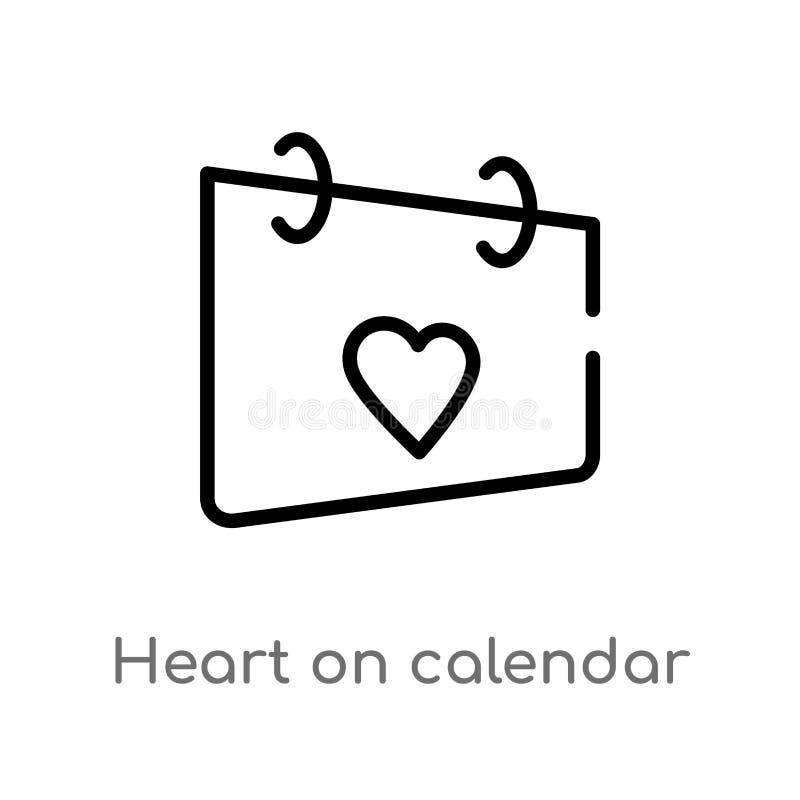 coração do esboço no ícone do vetor do calendário linha simples preta isolada ilustra??o do elemento do conceito da interface de  ilustração royalty free