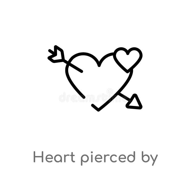 coração do esboço perfurado por um ícone do vetor da seta linha simples preta isolada ilustração do elemento do conceito das form ilustração royalty free