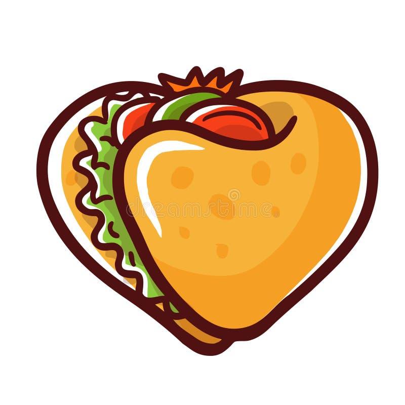Coração do fast food do logotipo do amor do taco ilustração royalty free