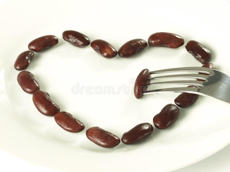 Coração do feijão vermelho, isolado imagens de stock