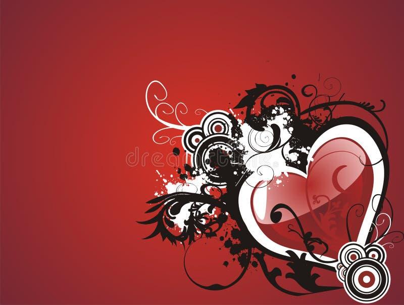 Coração do grunge do Valentim floral ilustração royalty free