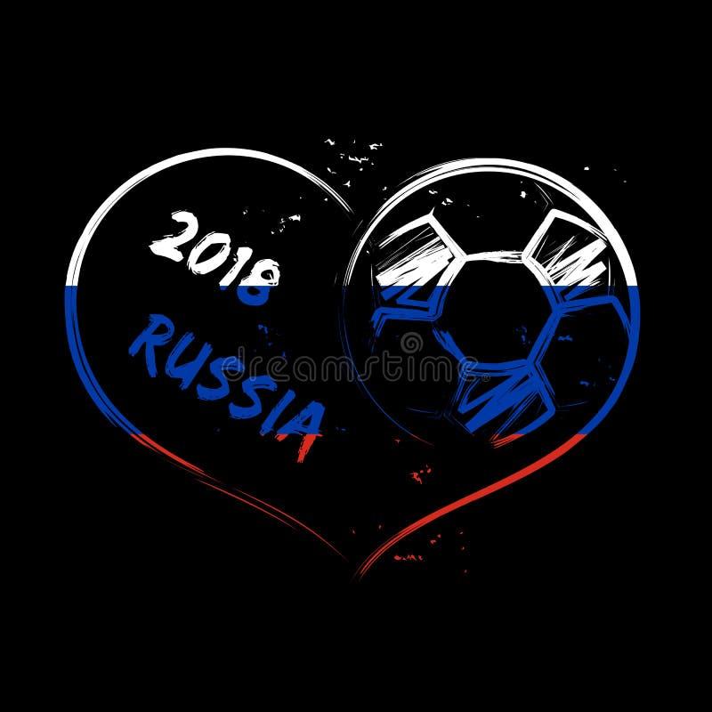 Coração 2018 do grunge do futebol de Rússia fotografia de stock