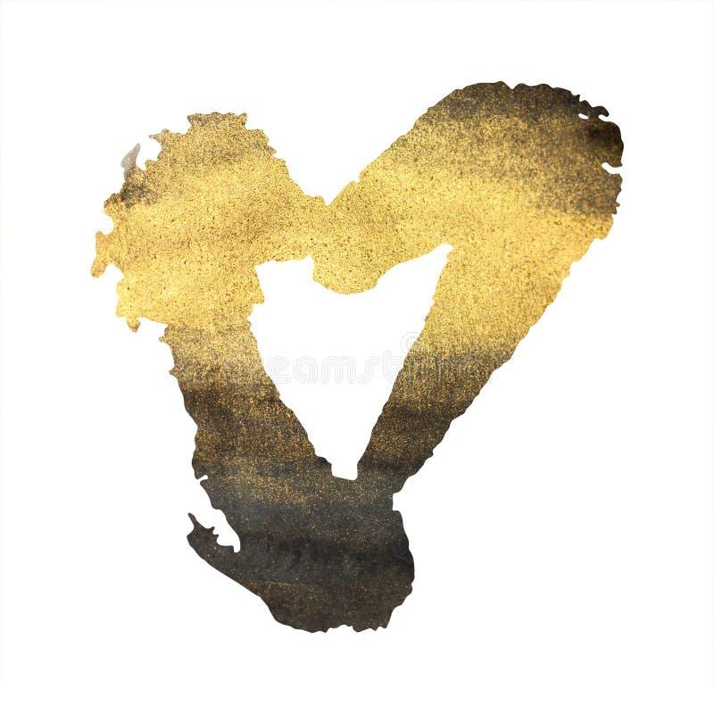Coração do Grunge no branco, no ouro e no preto ilustração do vetor