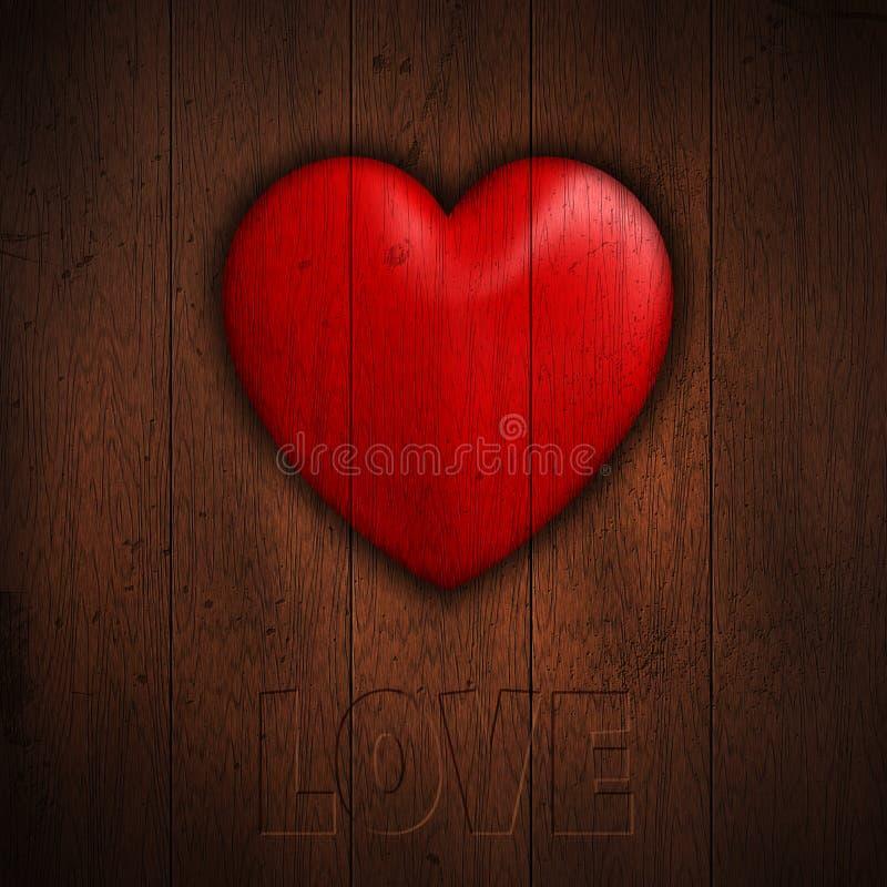 Coração do Grunge no fundo de madeira ilustração do vetor