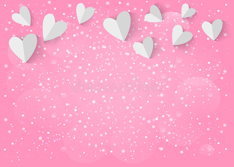 Coração do Livro Branco 3d no fundo cor-de-rosa Vetor EPS 10 ilustração stock