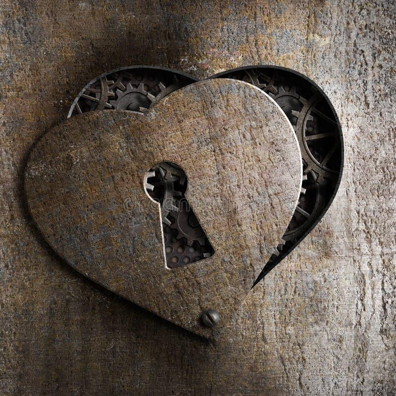Coração do metal com buraco da fechadura imagem de stock