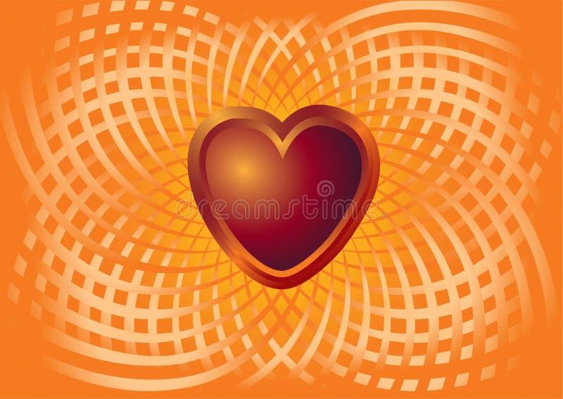 Coração do metal em um captiveiro do amor ilustração do vetor