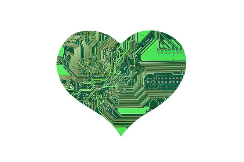 Coração do microcircuito foto de stock