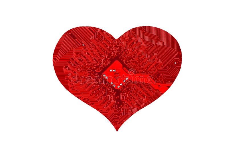 Coração do microcircuito imagens de stock royalty free