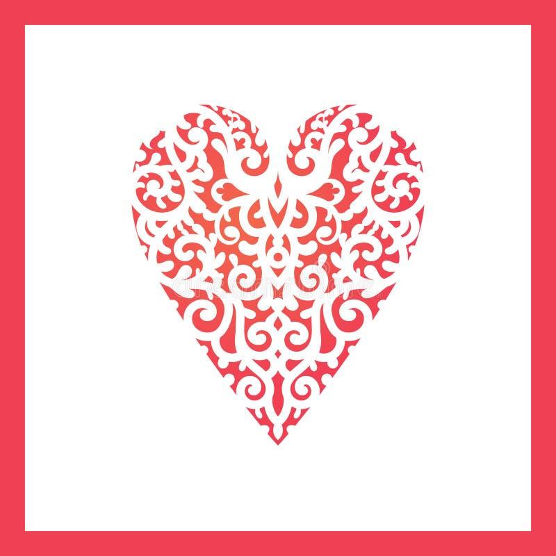 Coração do molde com as flores para o corte do laser, cartão que scrapbooking ilustração stock
