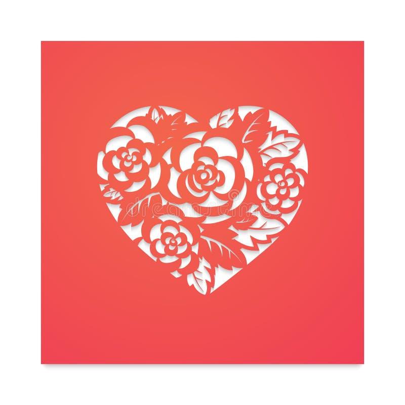 Coração do molde com as rosas para o corte do laser ilustração do vetor
