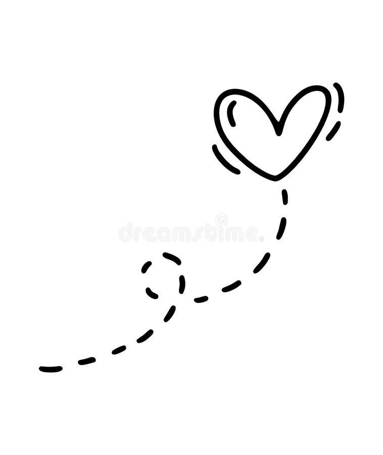 Coração do monoline do vetor com trajeto Ícone tirado mão do dia de Valentim Valentim do elemento da planta do projeto da garatuj ilustração do vetor