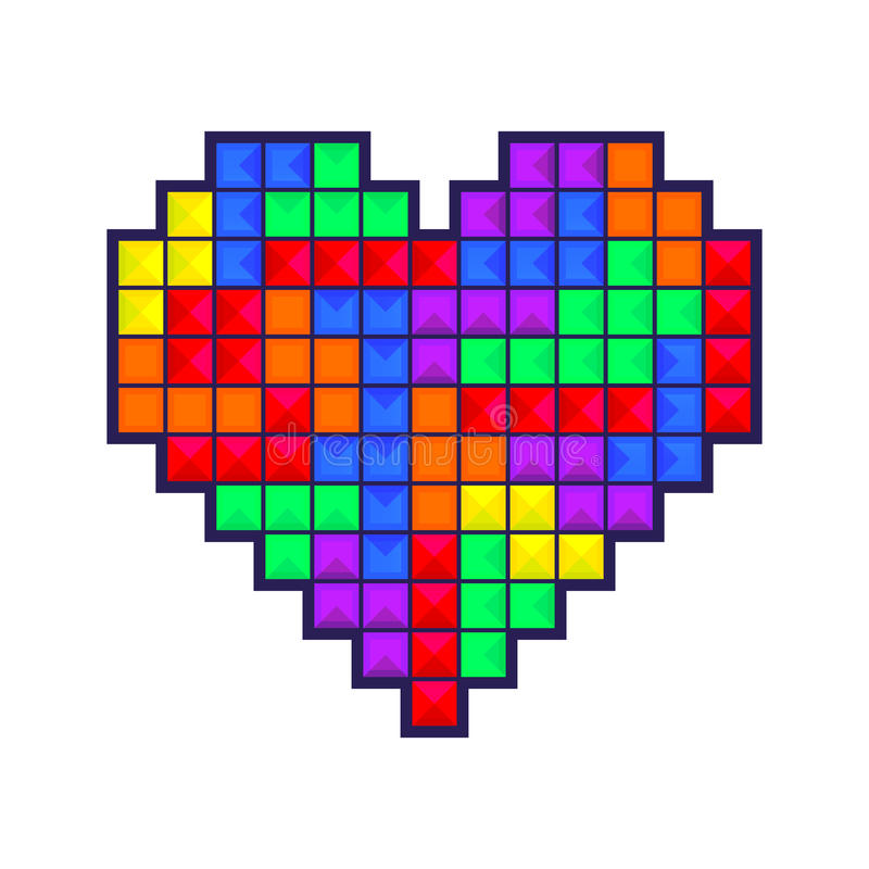 Coração do mosaico colorido ilustração do vetor