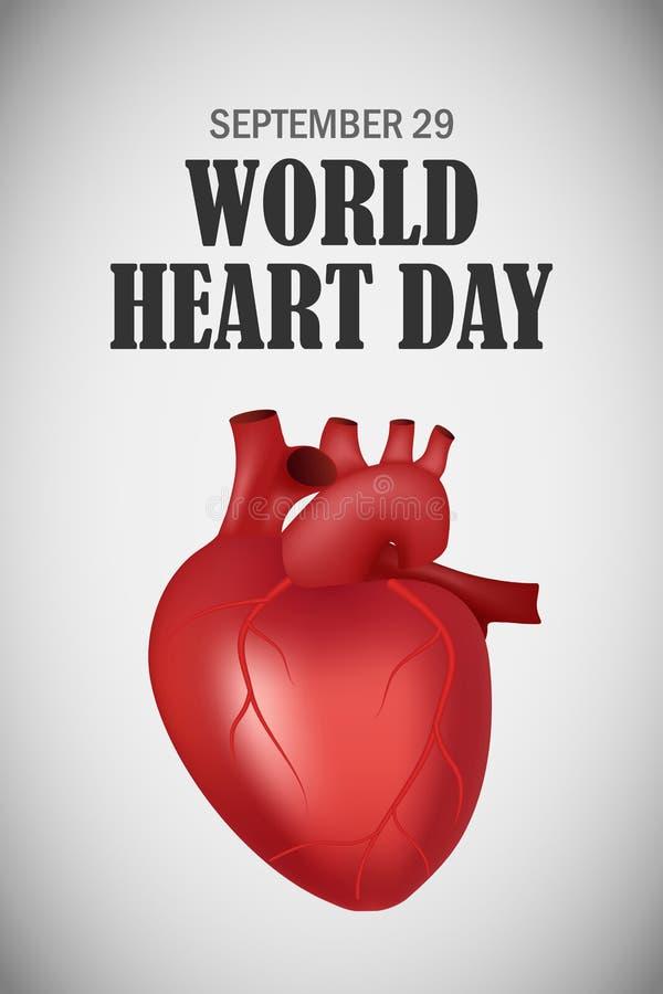 Coração do mundo fundo do conceito dia, estilo realístico ilustração do vetor