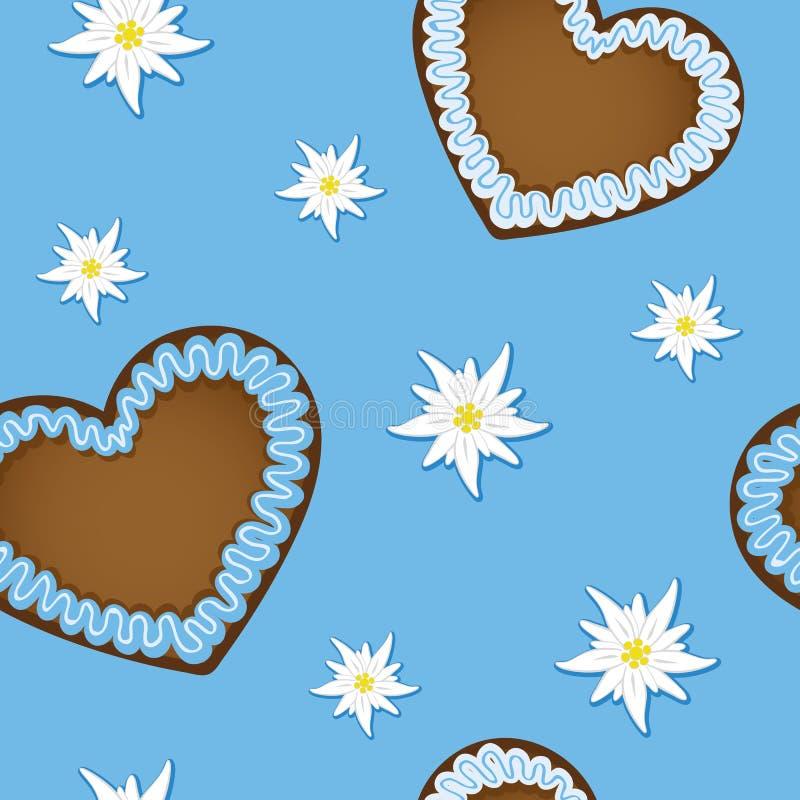 Coração do pão-de-espécie do teste padrão e projeto sem emenda do bavaria da flor dos edelvais ilustração stock