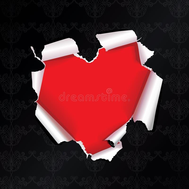 Coração do papel do rasgo do vetor imagens de stock