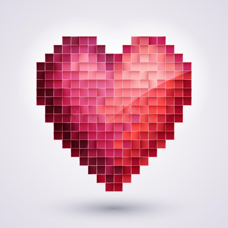 Coração do pixel. Amor ilustração stock