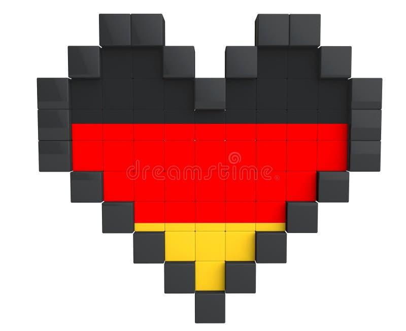 Coração do pixel como a bandeira de Alemanha ilustração stock