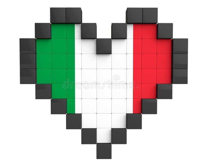 Coração do pixel como a bandeira de Itália ilustração do vetor