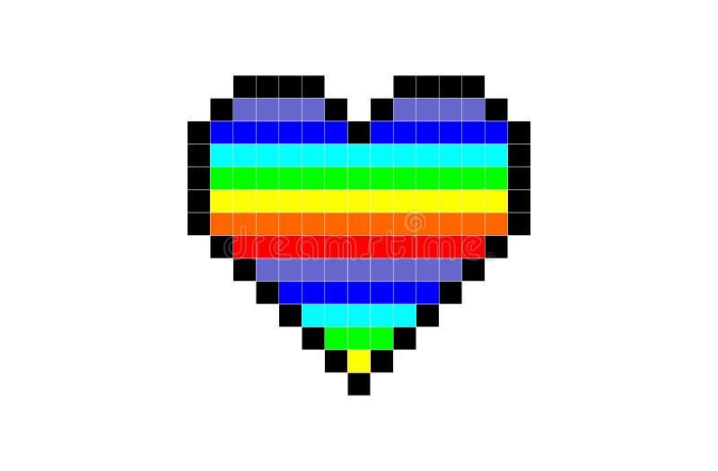 Coração do pixel da cor do arco-íris ilustração royalty free