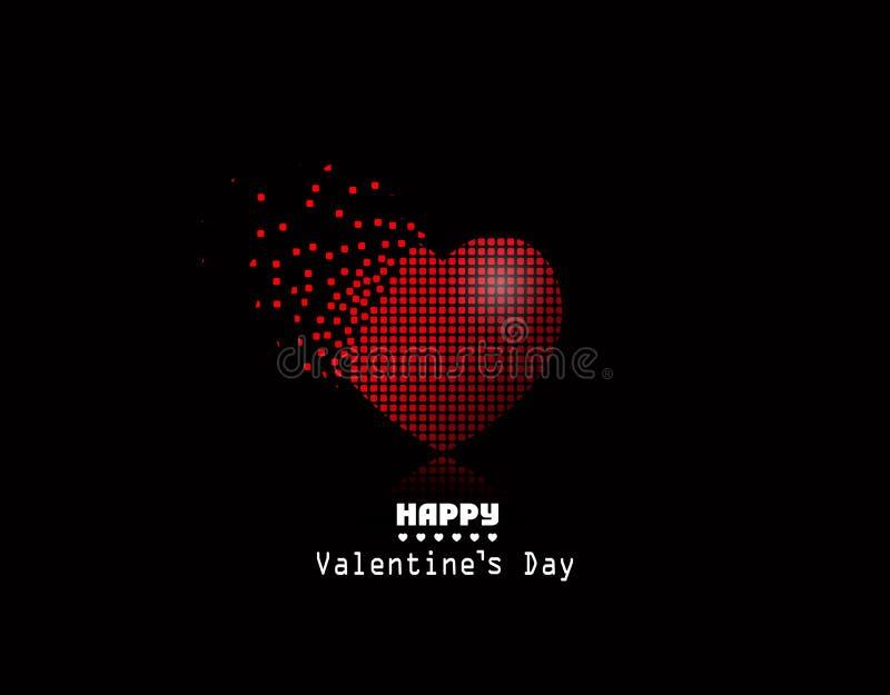 Coração do pixel do vetor, fundo de Valentine Day ilustração stock