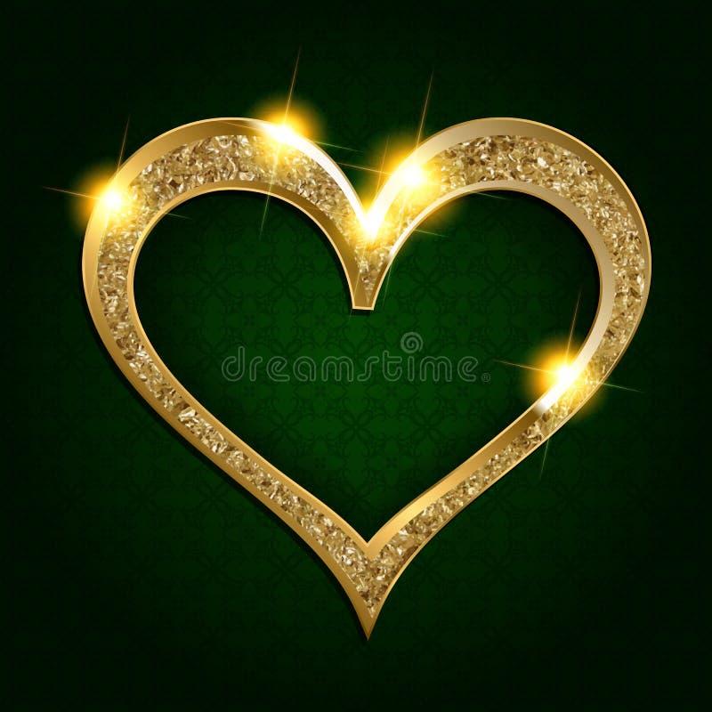 Coração do quadro do ouro em um fundo escuro ilustração stock