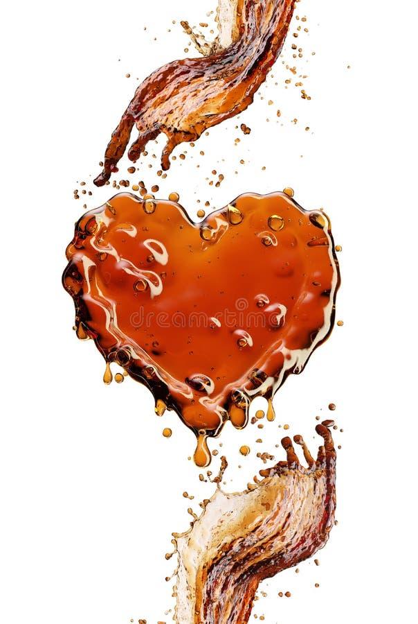 Coração do respingo da cola com as bolhas isoladas no branco imagem de stock