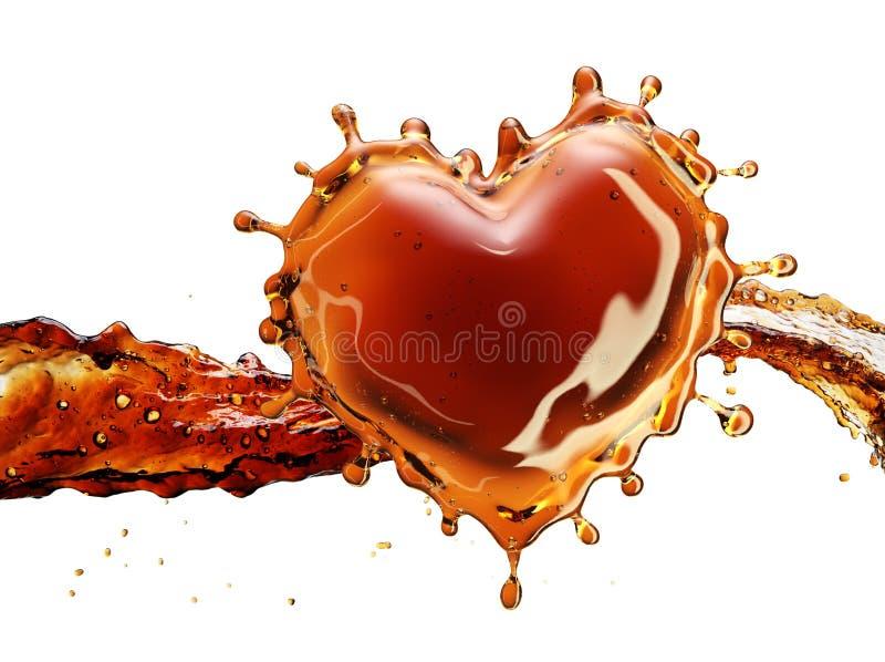 Coração do respingo da cola com as bolhas isoladas no branco ilustração stock