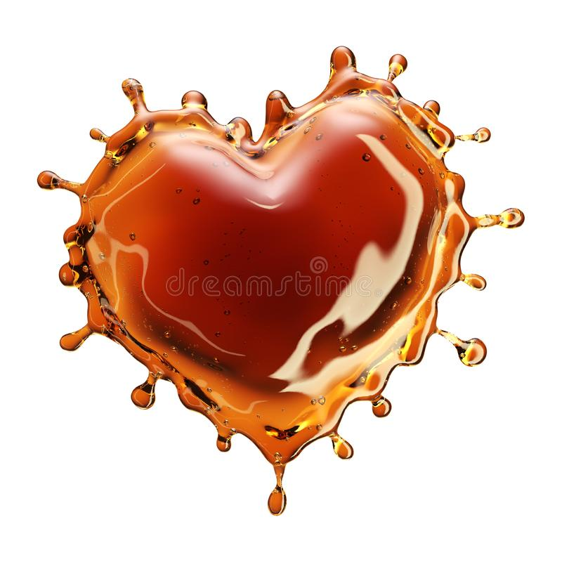 Coração do respingo da cola com as bolhas isoladas no branco ilustração royalty free