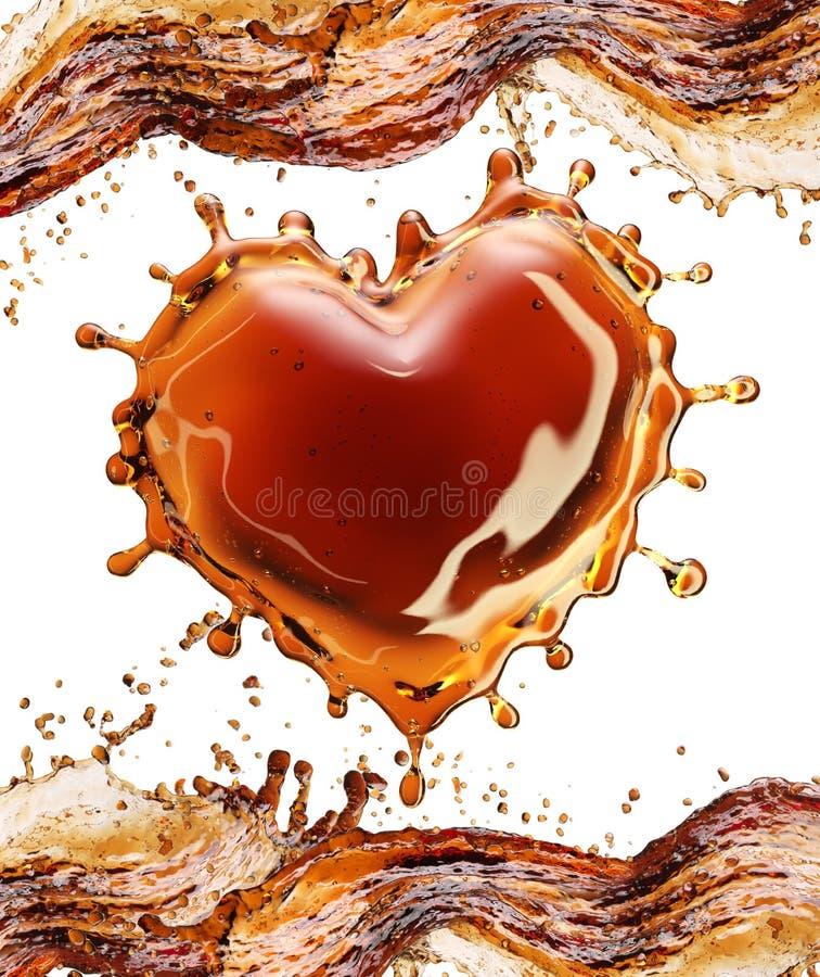 Coração do respingo da cola com bolhas no branco ilustração do vetor