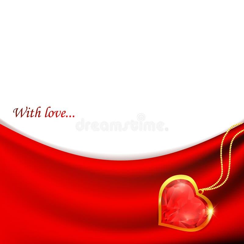 Coração do rubi no drapery