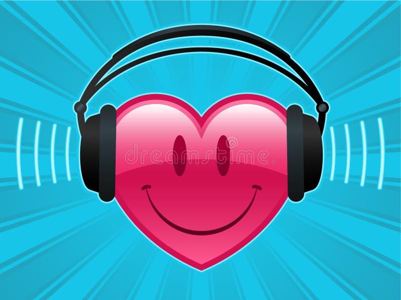 Coração do smiley com auscultadores ilustração royalty free