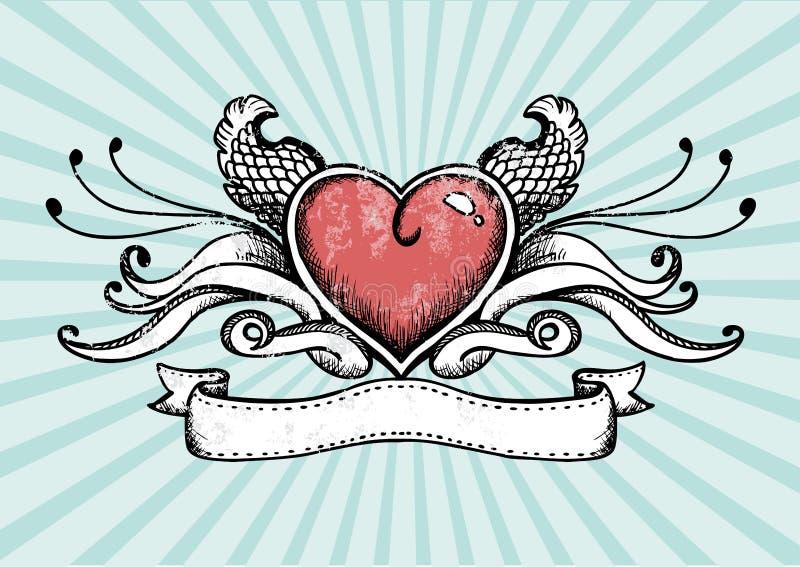 Coração do tatuagem ilustração do vetor