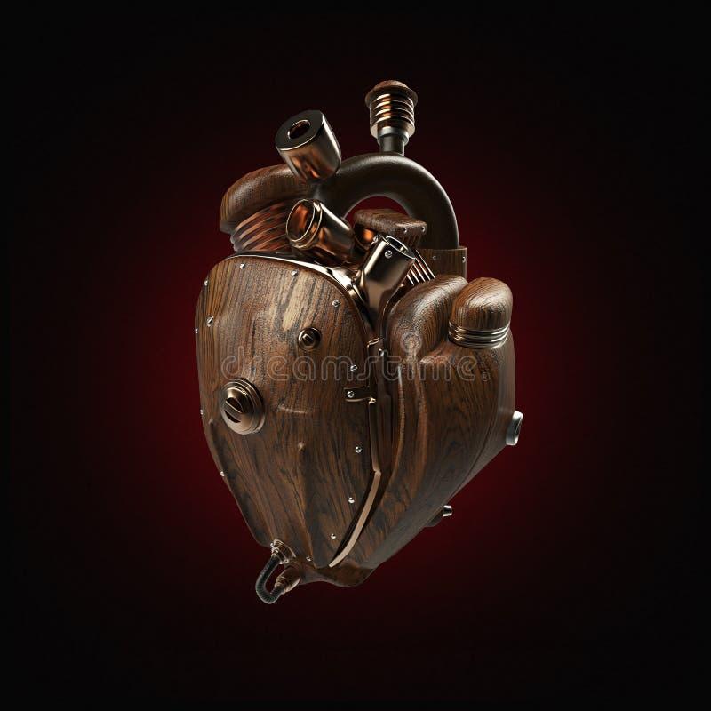 Coração do techno do robô do mecha de Steampunk motor com tubulações, radiadores e as peças de madeira da capa Isolado imagens de stock
