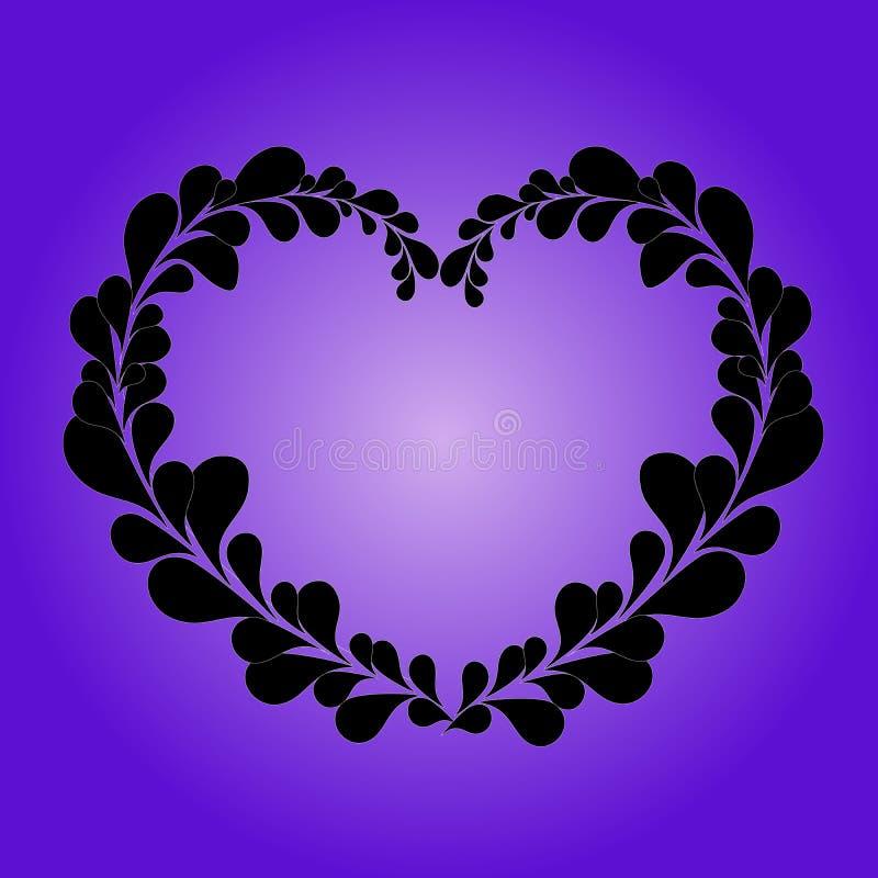 Coração do Valentim das folhas no fundo do lila ilustração do vetor