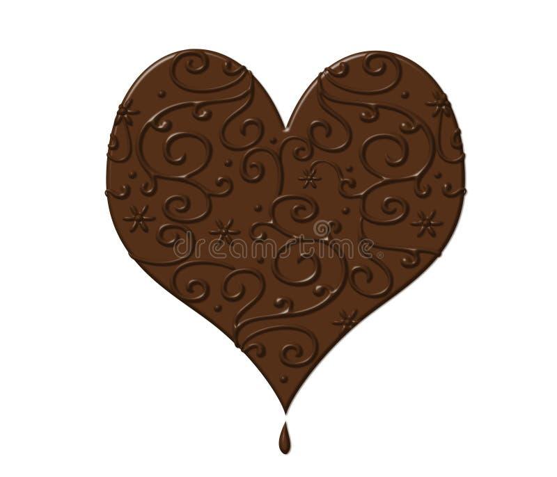 Coração do Valentim do chocolate no branco ilustração royalty free