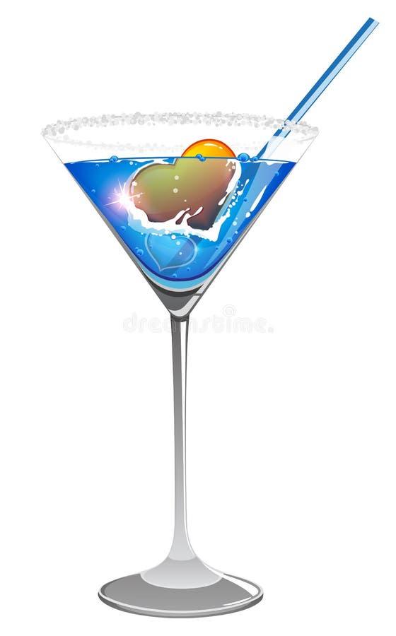Coração do Valentim no cocktail azul ilustração royalty free