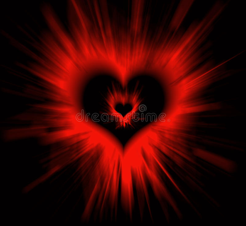 Coração do Valentim no preto ilustração stock