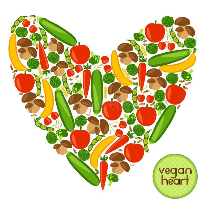 Coração do vegetariano ilustração do vetor