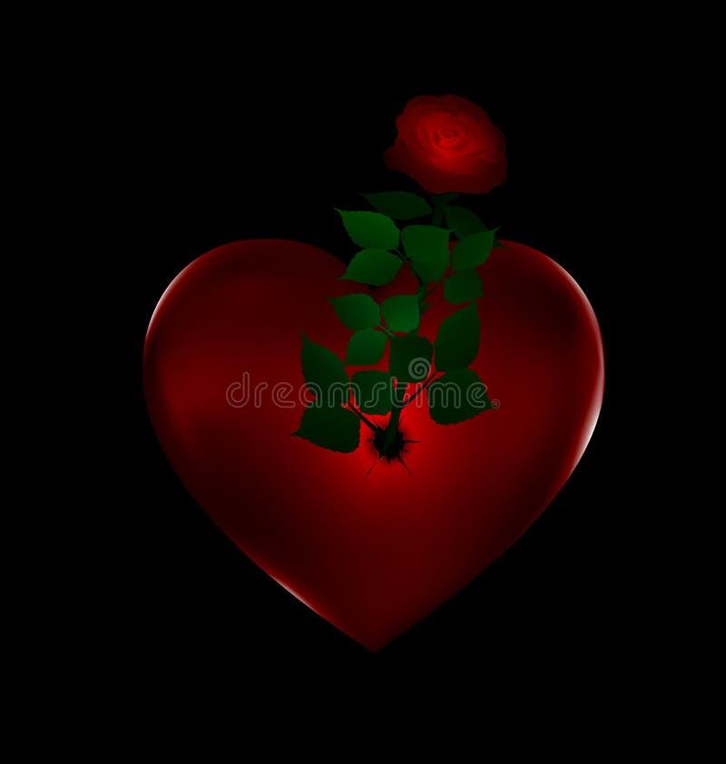 Coração do vermelho da flor e da pedra ilustração royalty free