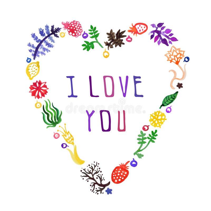 Coração do vetor da natureza da aquarela com flores, bagas e plantas e texto eu te amo (colorido) Aperfeiçoe para convites ilustração stock