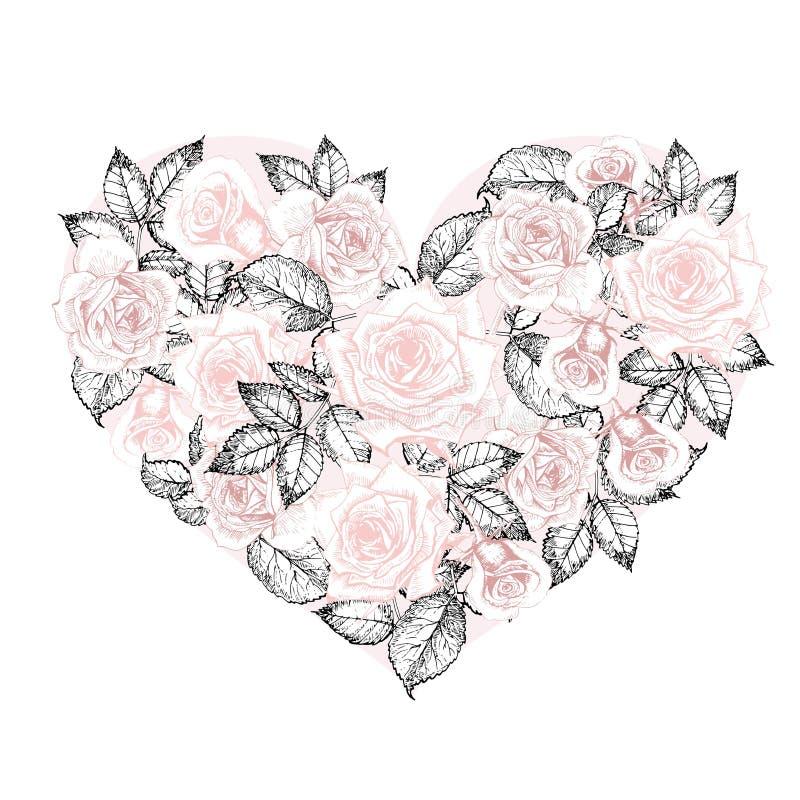 Coração do vetor das rosas Flores gravadas vintage tiradas mão do estilo Cor da rosa da cor pastel ilustração stock