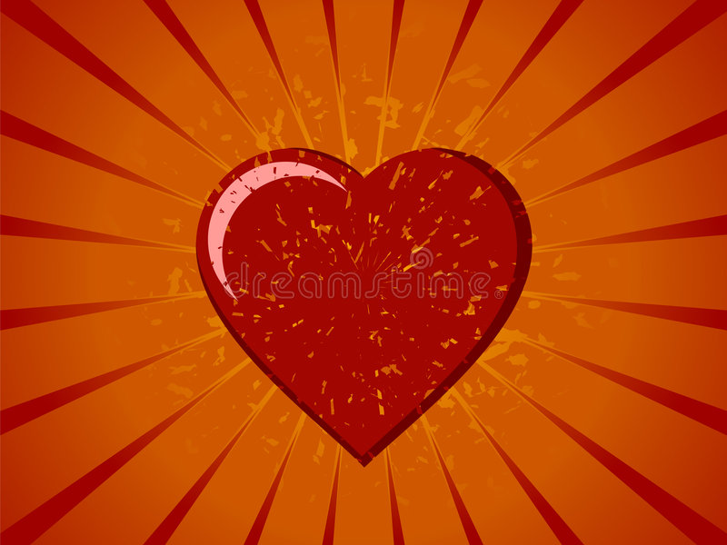 Coração do vetor de Grunge no Sunburst ilustração do vetor