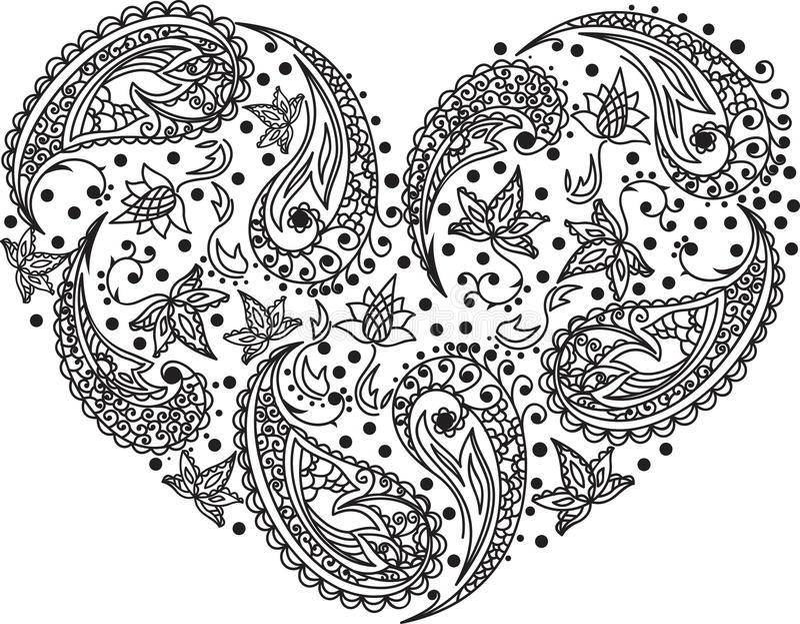 Coração do vetor de Paisley ilustração royalty free