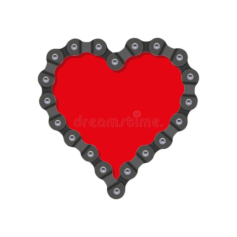 Coração do vetor feito da corrente da bicicleta ou da bicicleta Cartão abstrato do Valentim ilustração do vetor